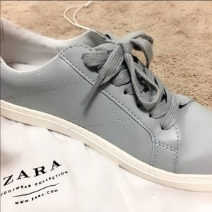 Zara baby blue quilted sneakers